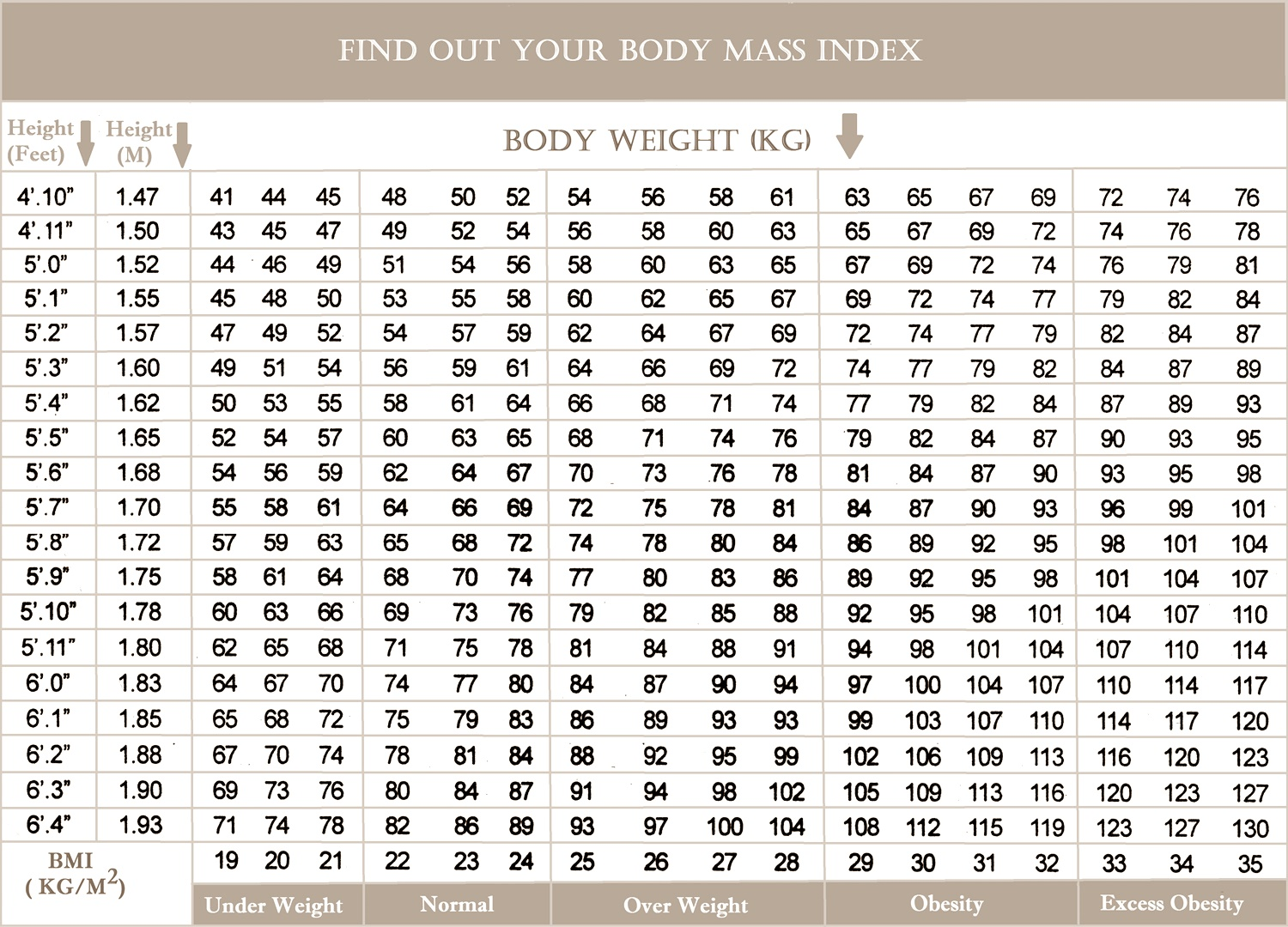 Chart Of Body Mass Index